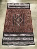 Vintage Handmade Fringed Caucasian Wool Rug