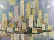 Print of Cityscape Artwork, Framed