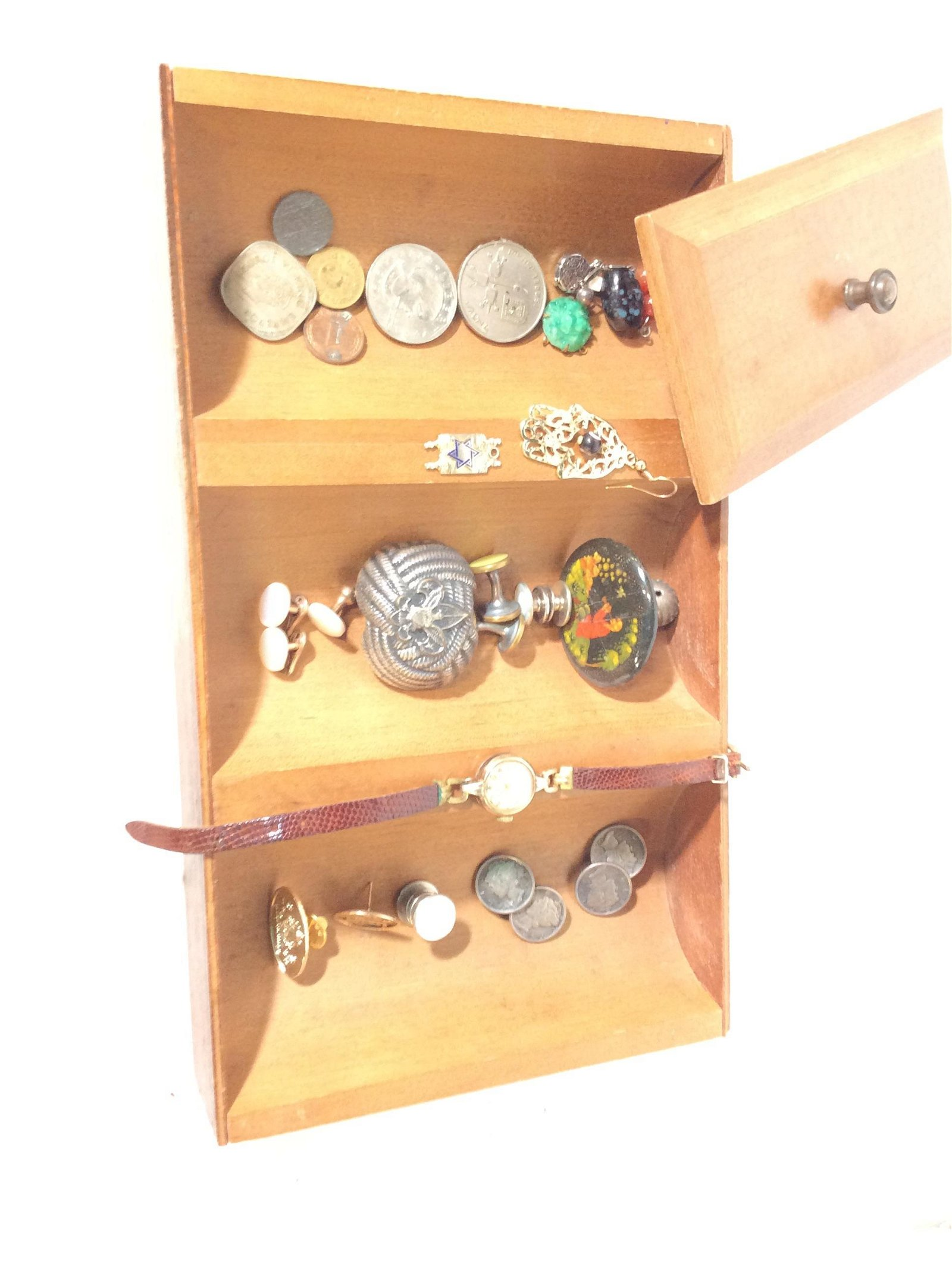Dresser Valet Wood Box with Vintage Accessories