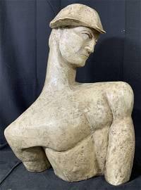 Male Modernist Style Plaster Half Bust Sculpture