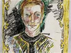 20th C Portrait on Paper by Nancy Malkin
