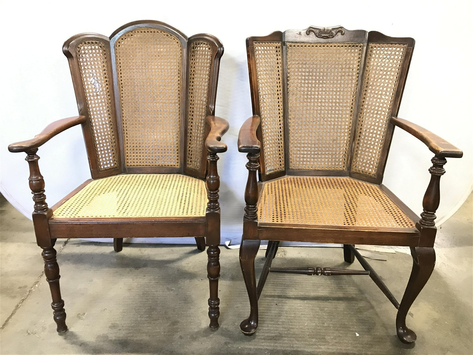Lot 2 Vintage Carved Wooden End Chairs