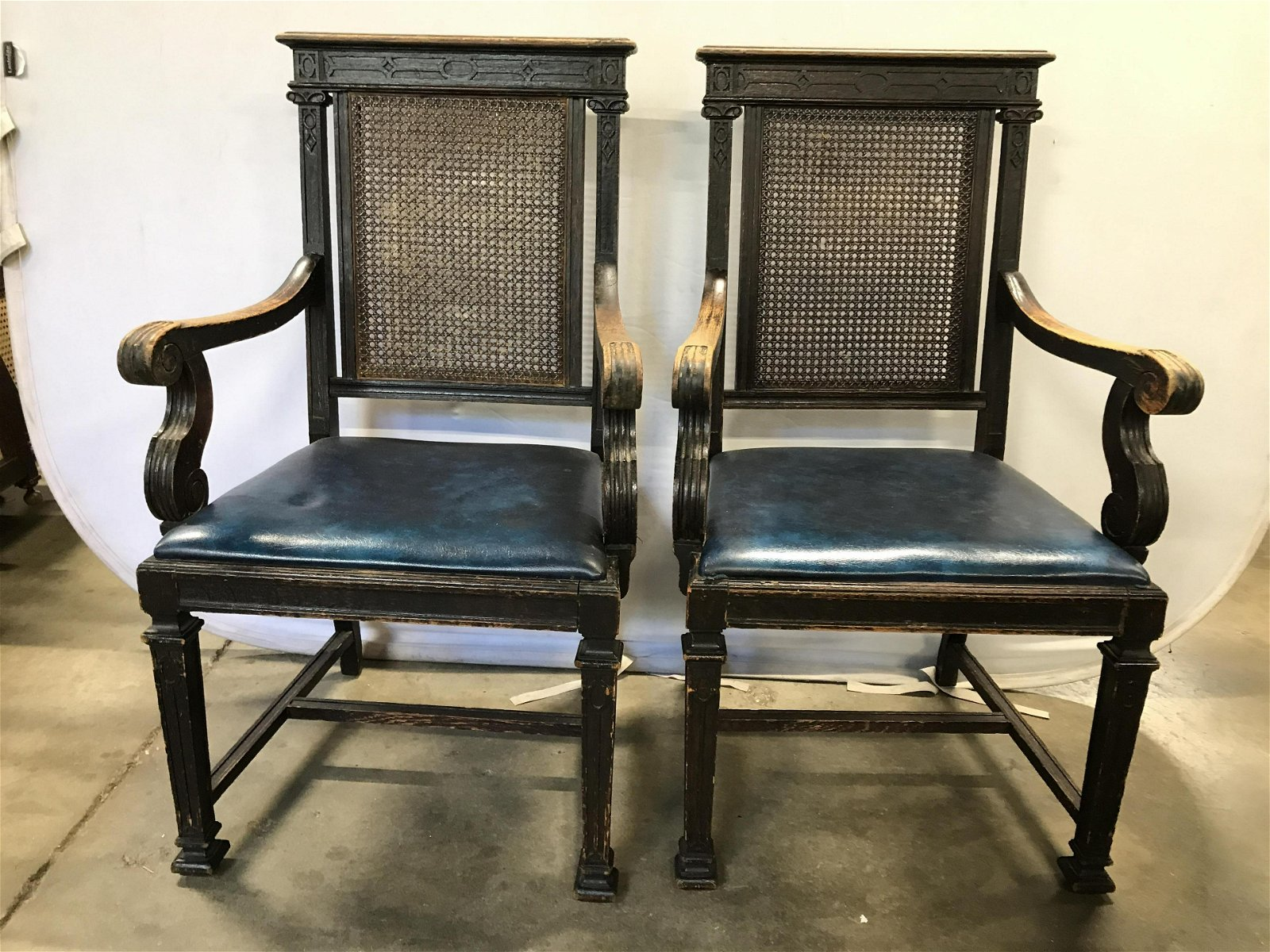 Pair Caned Antique Carved Wooden Chairs