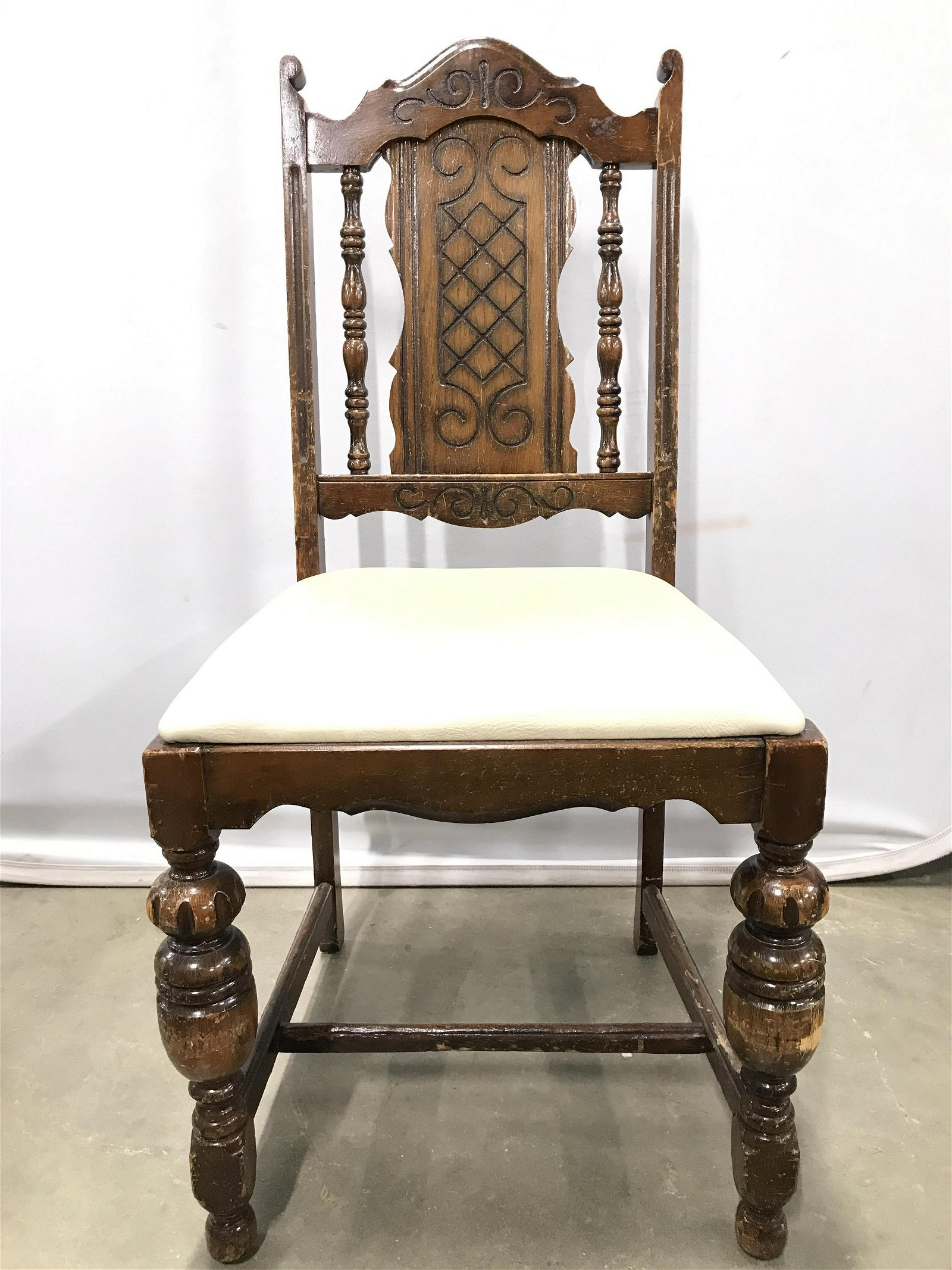 Antique Carved Wooden Side Chair
