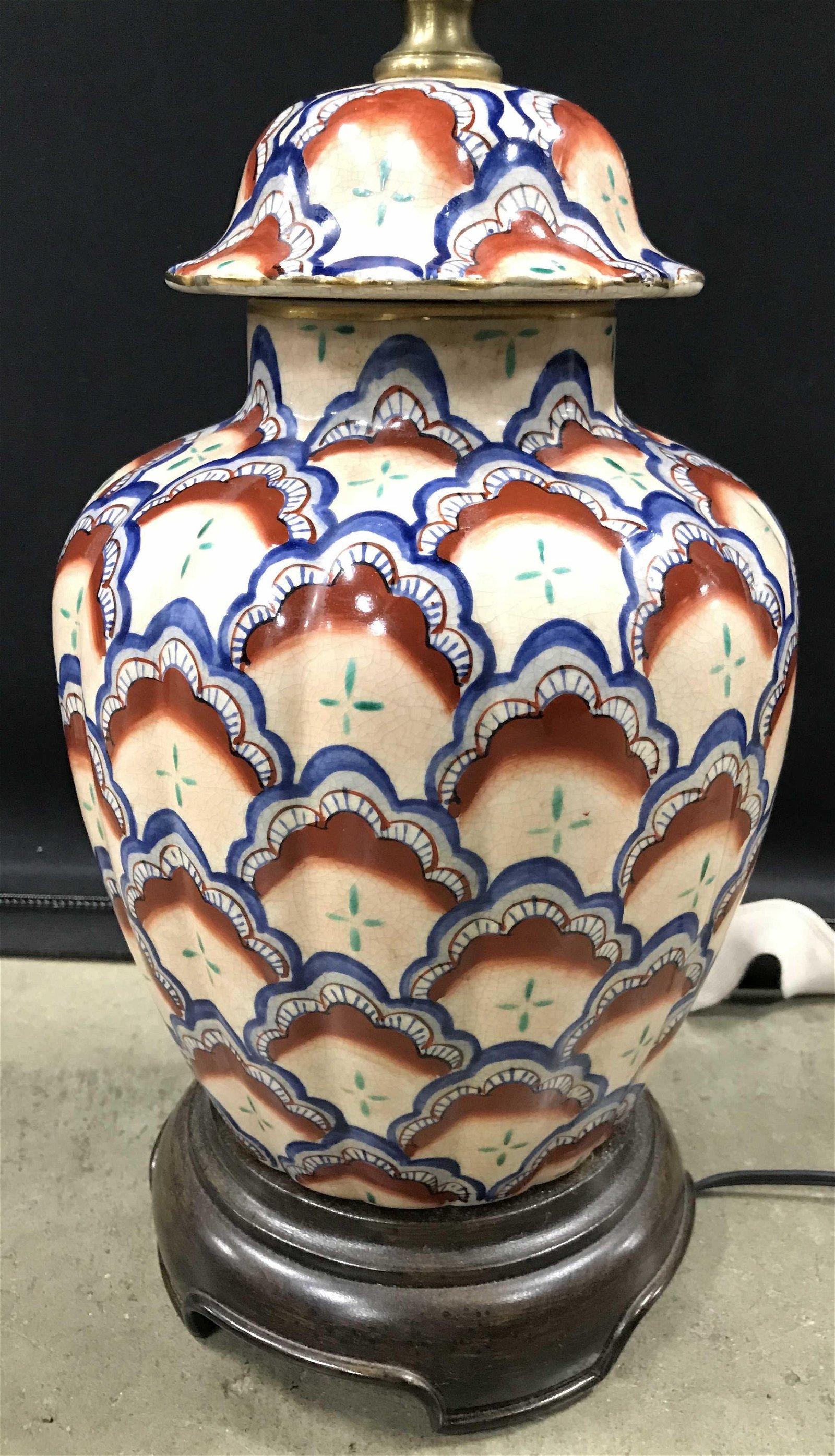 Vintage Painted Asian Porcelain Lamp