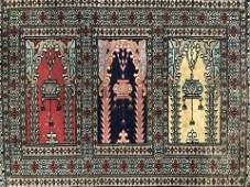 Signed Vintage Handmade Prayer Wool Rug
