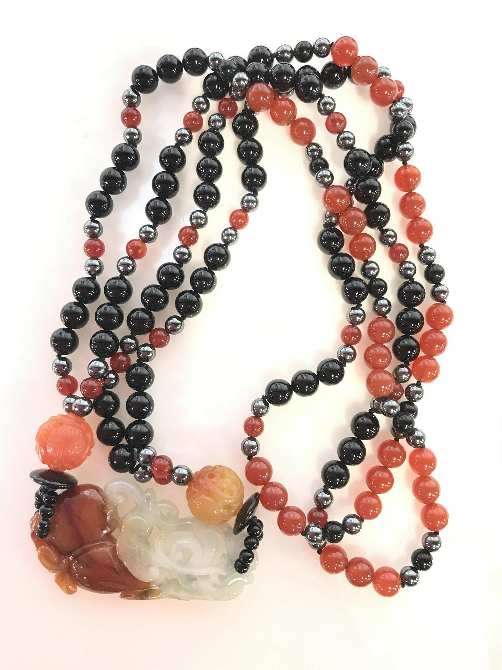 Red Jade Beaded Necklace. Carved Pendant