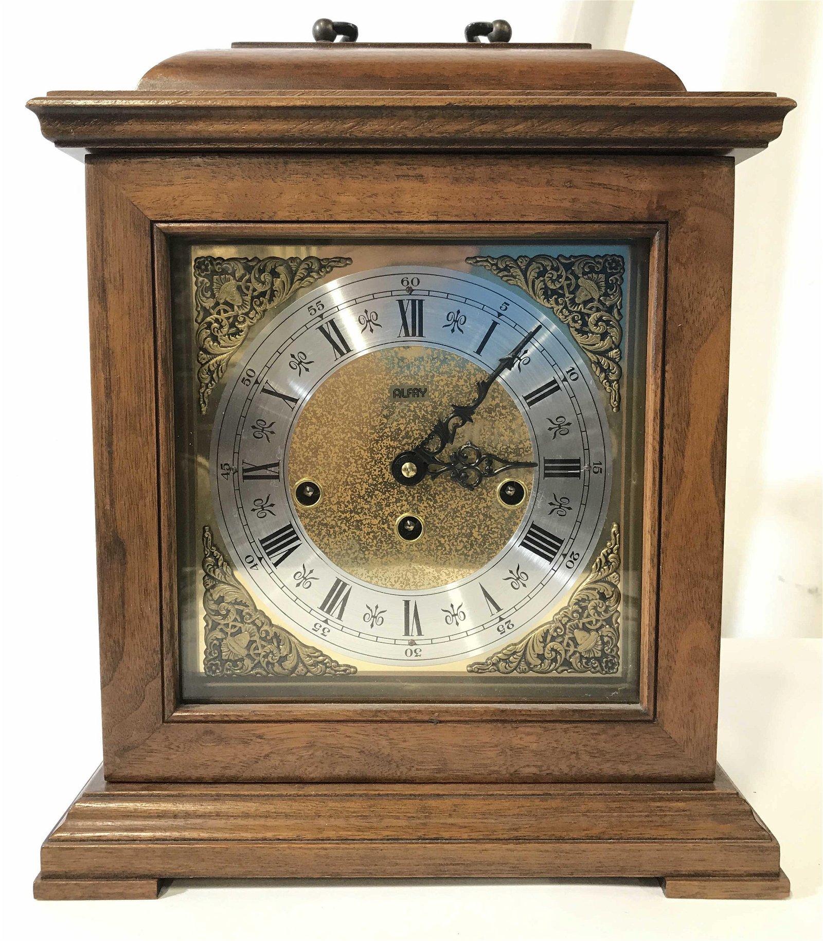 Vintage ALFRY Carved Wooden Mantel Clock