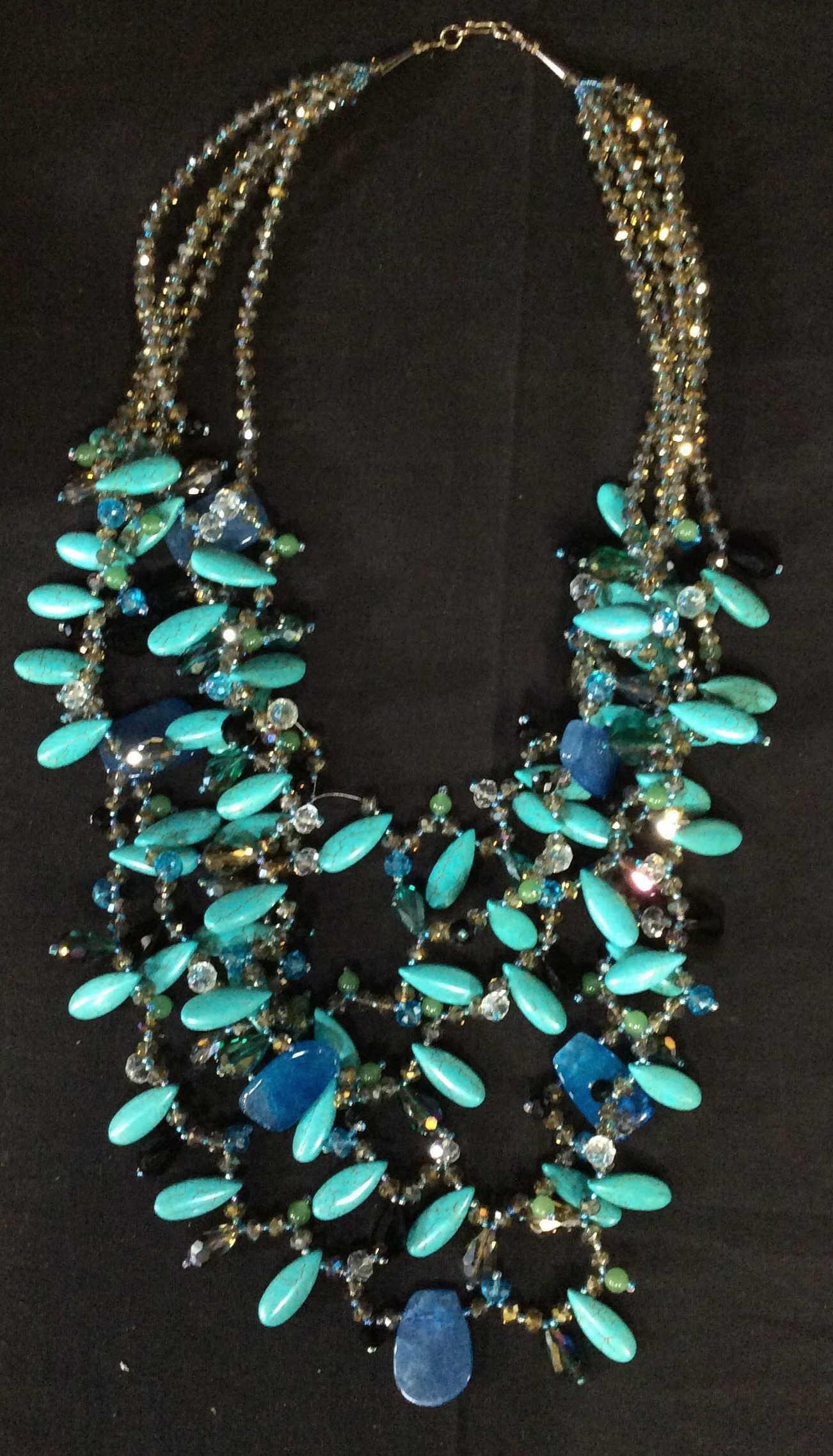 Handmade Multi Strand Bead Statement Necklace