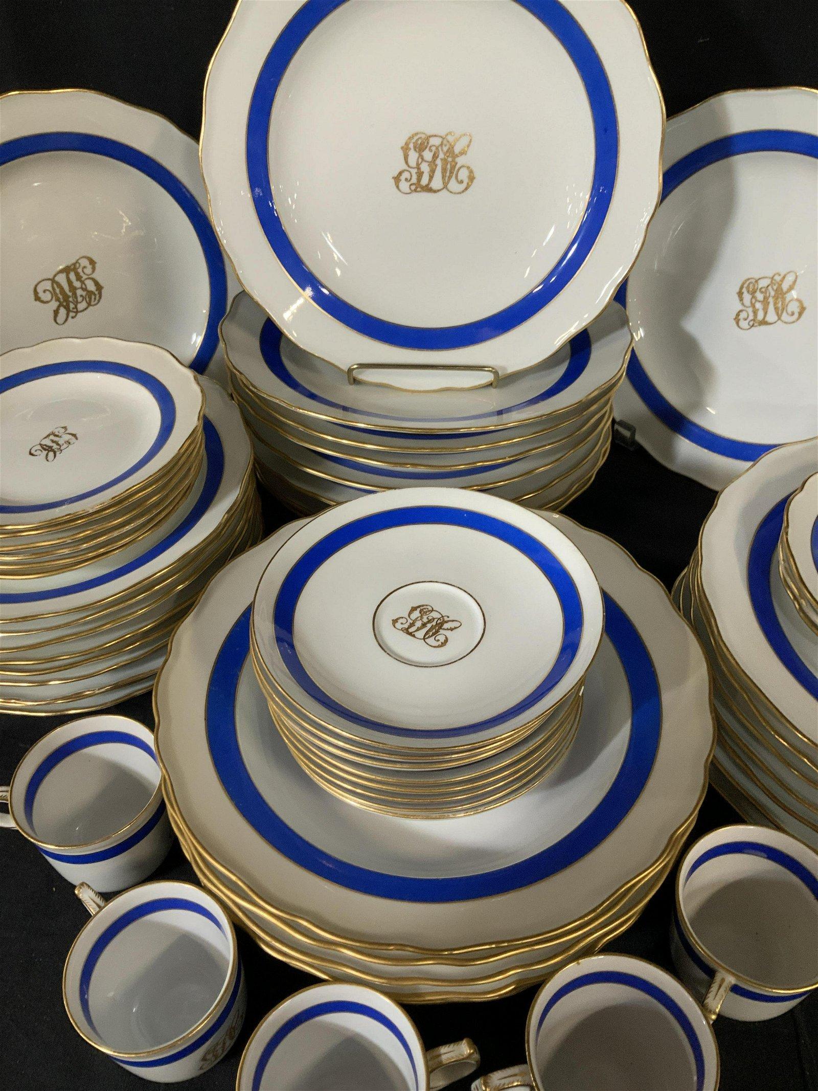 Antique Meissen Porcelain Dinner Service, 62 pcs