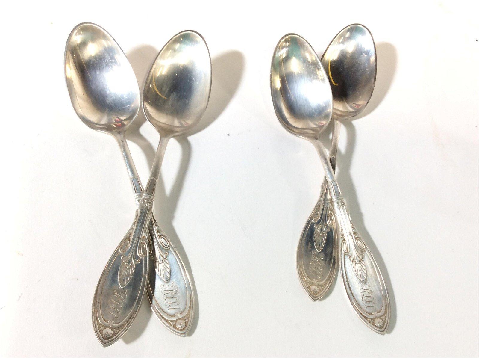 J. Polhamus for Tiffany & Co. Sterling Spoon Set 4