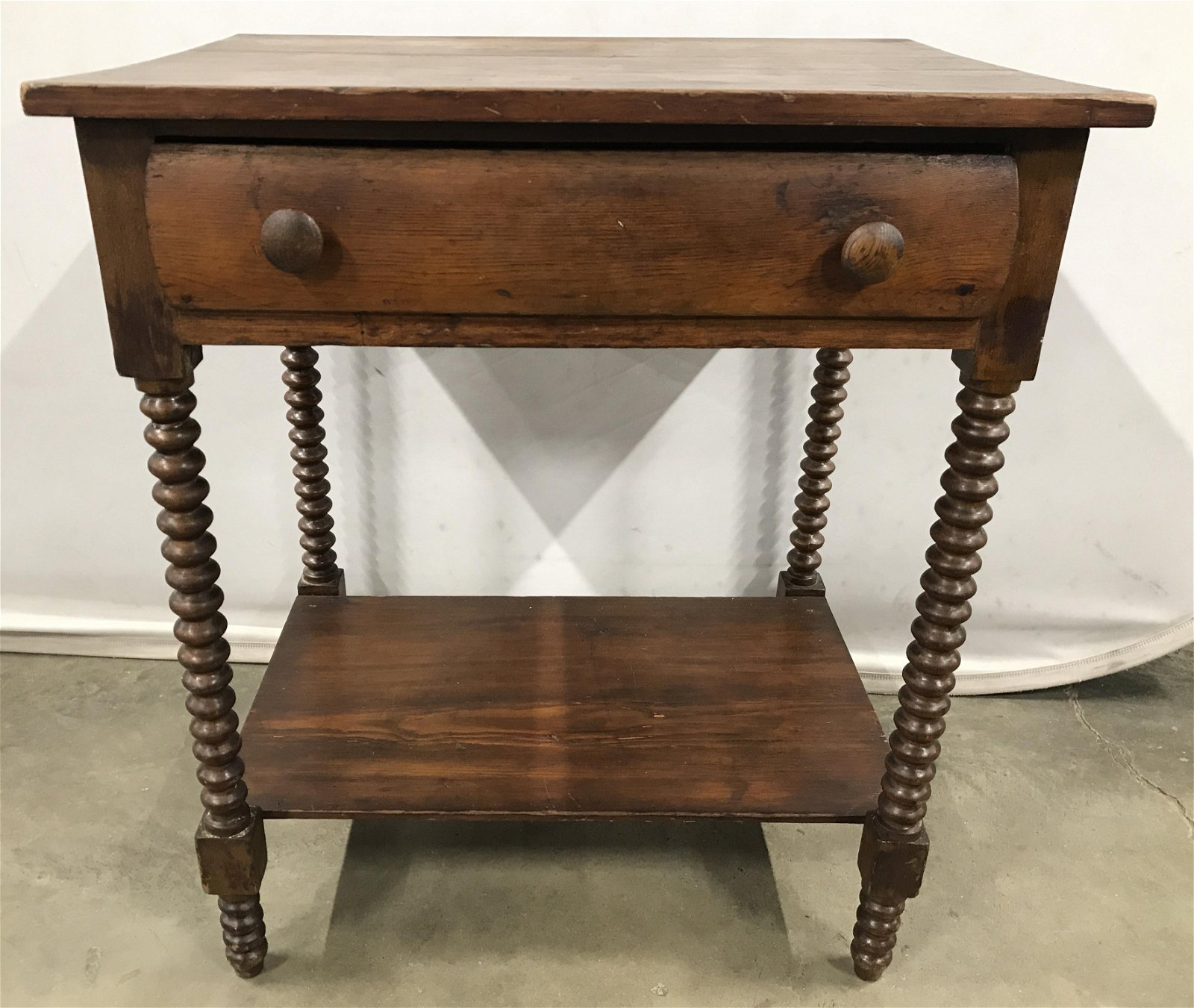 Antique Carved Wooden Spindle Leg Side Table