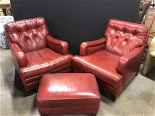 3pcs CLASSIC Leather Chairs & Ottoman