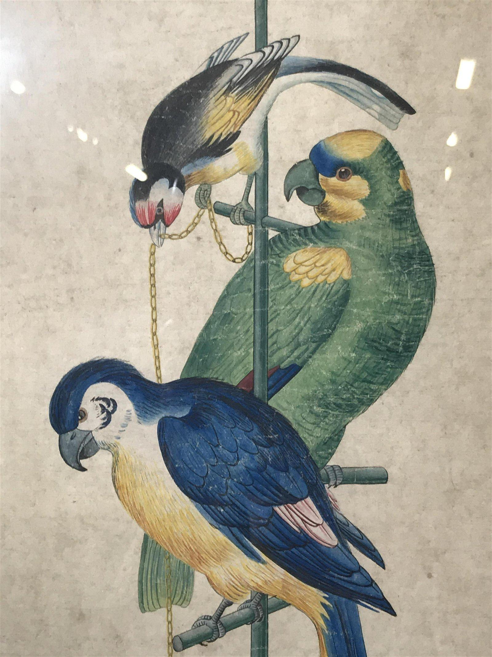 Gold Leaf Framed Asian Watercolor Birds