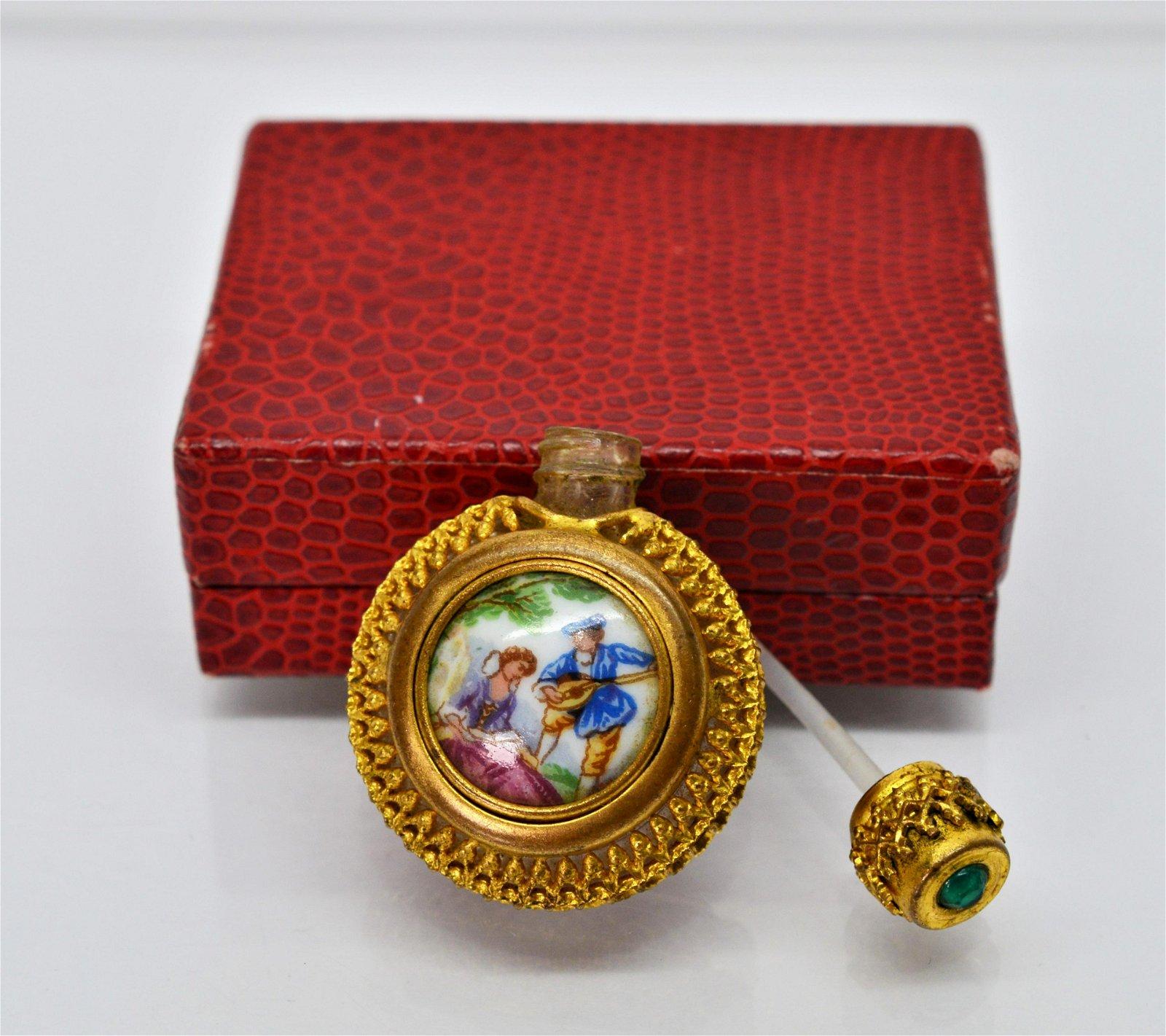 Limoges France Gilded Filigree Perfume Bottle