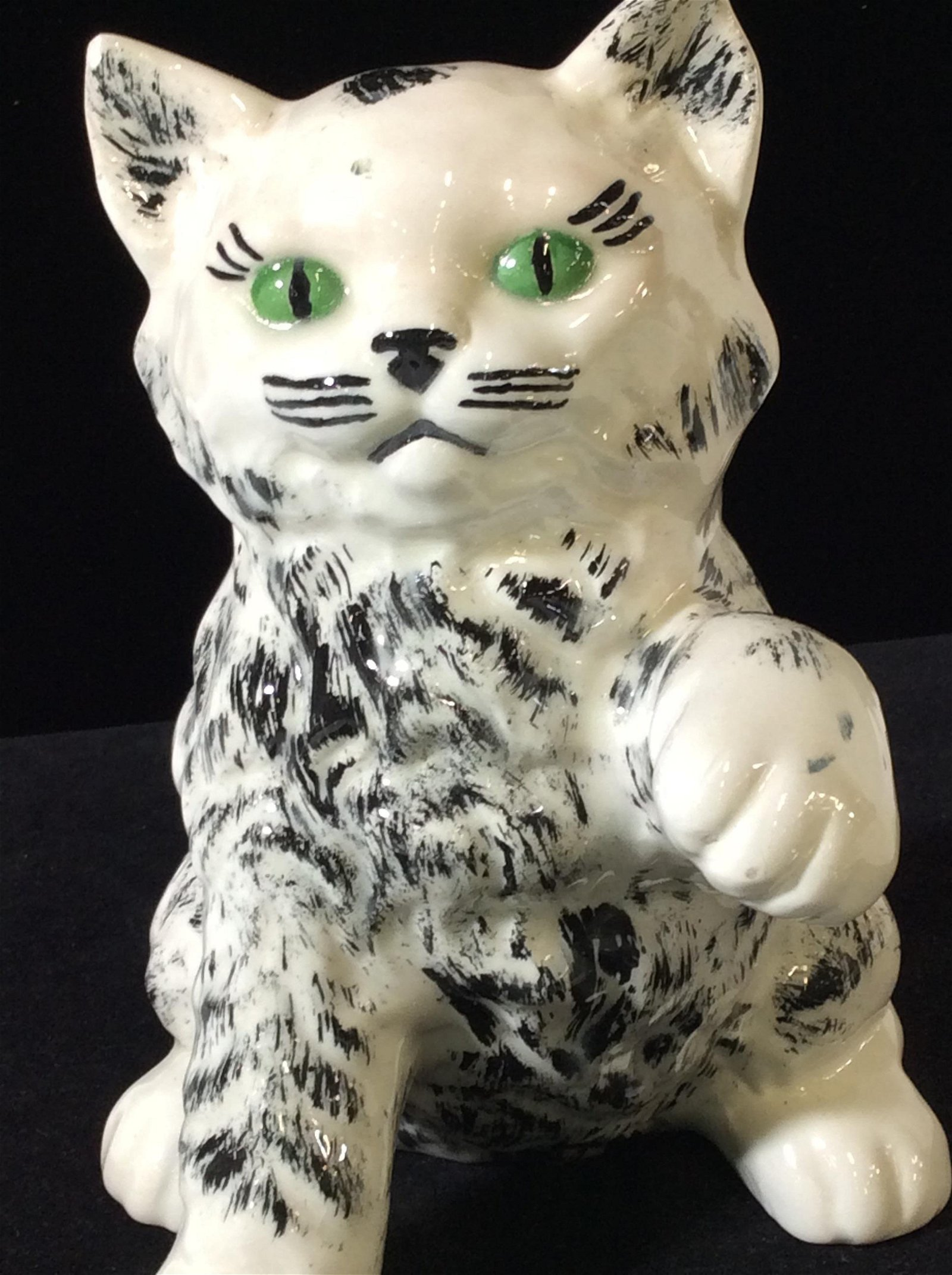 Hand Made & Painted Green Eyed Ceramic Cat