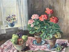Signed Oil Painting on Canvas Floral Still Life