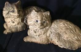 Pair HUBLEY Persian Cat Cast Iron Figurals signed