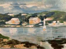 Pair Alfred Birdsey Signed Oil on Canvas Seascapes