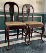 VIntage Pair Carved French Style Hall Chairs