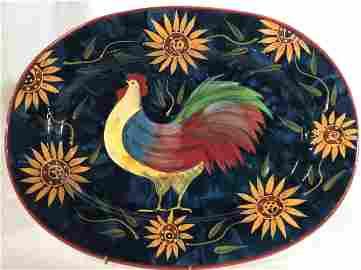ROOSTER Themed Ceramic Platter, Susan Winget