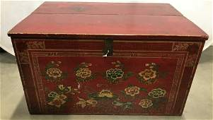 Hand Painted Antique Wooden Dowry Chest