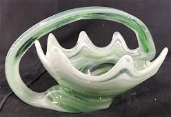 Green Toned Art Glass Cornucopia Style Vase