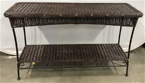 Woven Rattan & Metal Sofa Table