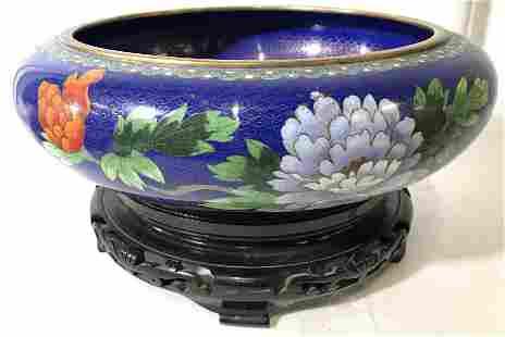 Vintage Asian Cloisonné Bowl W Stand