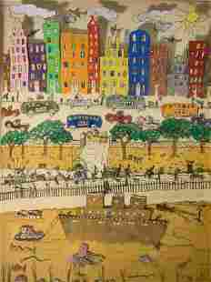James Rizzi Pop Art Signed Dated 1977 City Scene