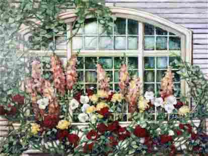 Oversized Matthew Albert Miles Signed Floral Oil