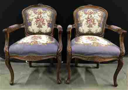 Pr Antique Needlepoint Upholstered Bergere Chairs