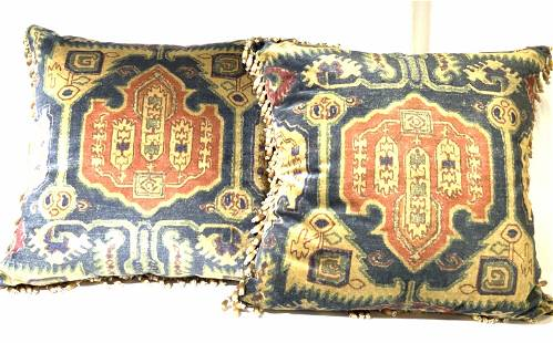 Pair Hand Stitched Luxury Asian Style Pillows