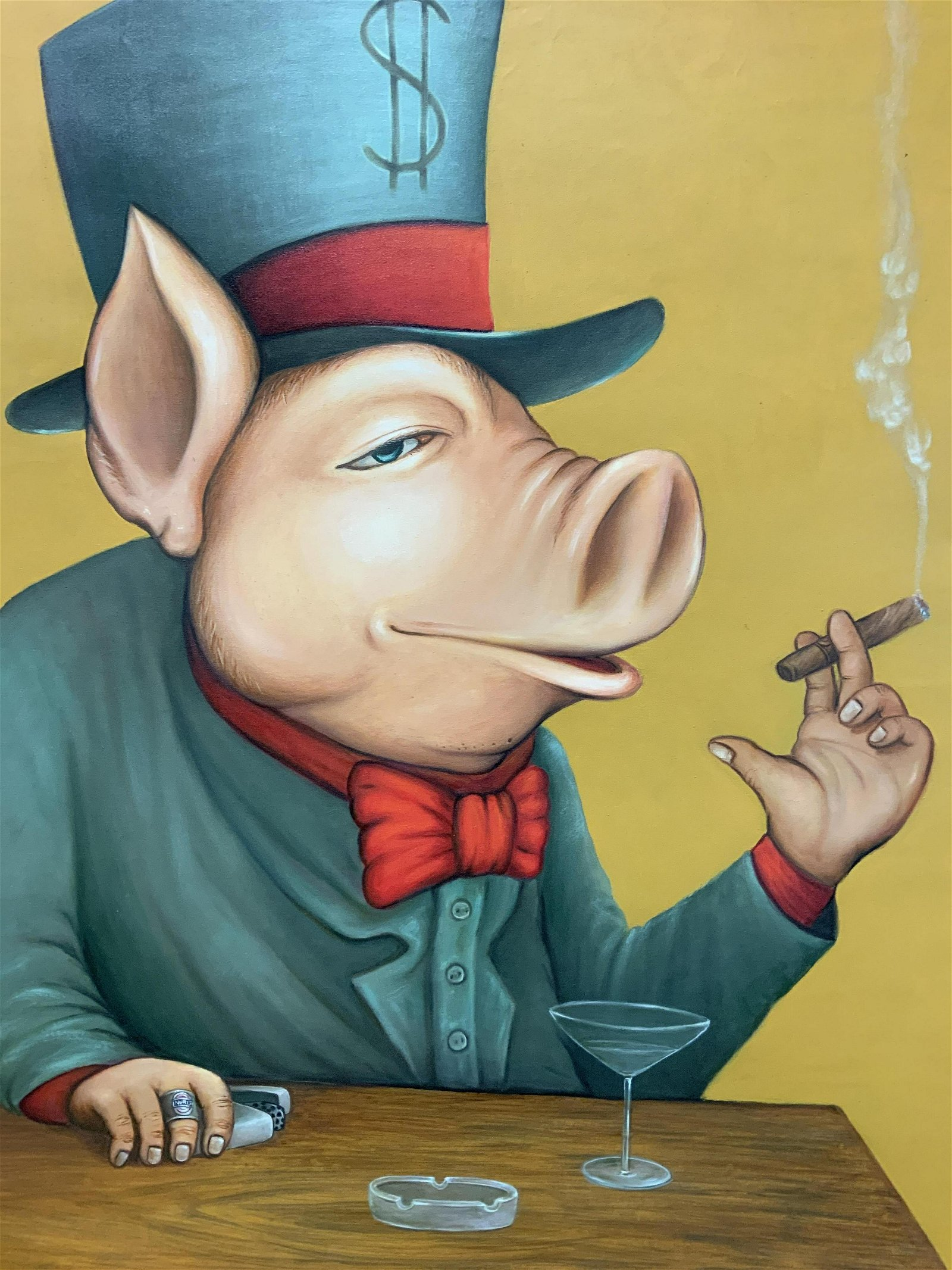 Fleapoo Bali Signed Pig Oil Painting