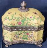 Porcelain Chinese Lidded Vessel Signed China