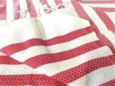 Pair Woven Red  Cream Striped Textiles Tunisia