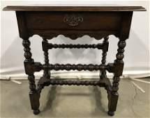 Vintage Carved Wooden Side Table W Drawer