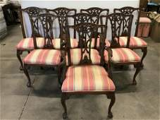 Set 8 Upholstered Wooden Dinner Chairs