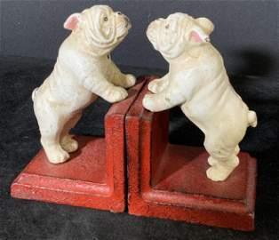 Pair Vintage Cast Iron English Bulldog Bookends