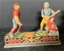 Vintage Cast Iron Baseball Coin Bank