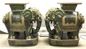 Pair Vintage Asian Porcelain Elephants Stools