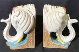 Pair Ceramic Elephant Bookends