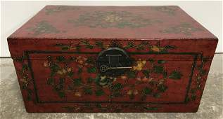 Vintage Asian Hand Painted Wooden Chest