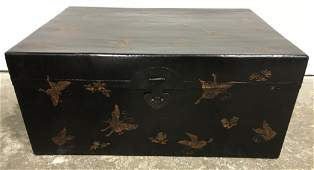 Vintage Asian Leather & Wood Chest