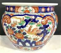 Oversized Vintage Signed Asian Porcelain Planter