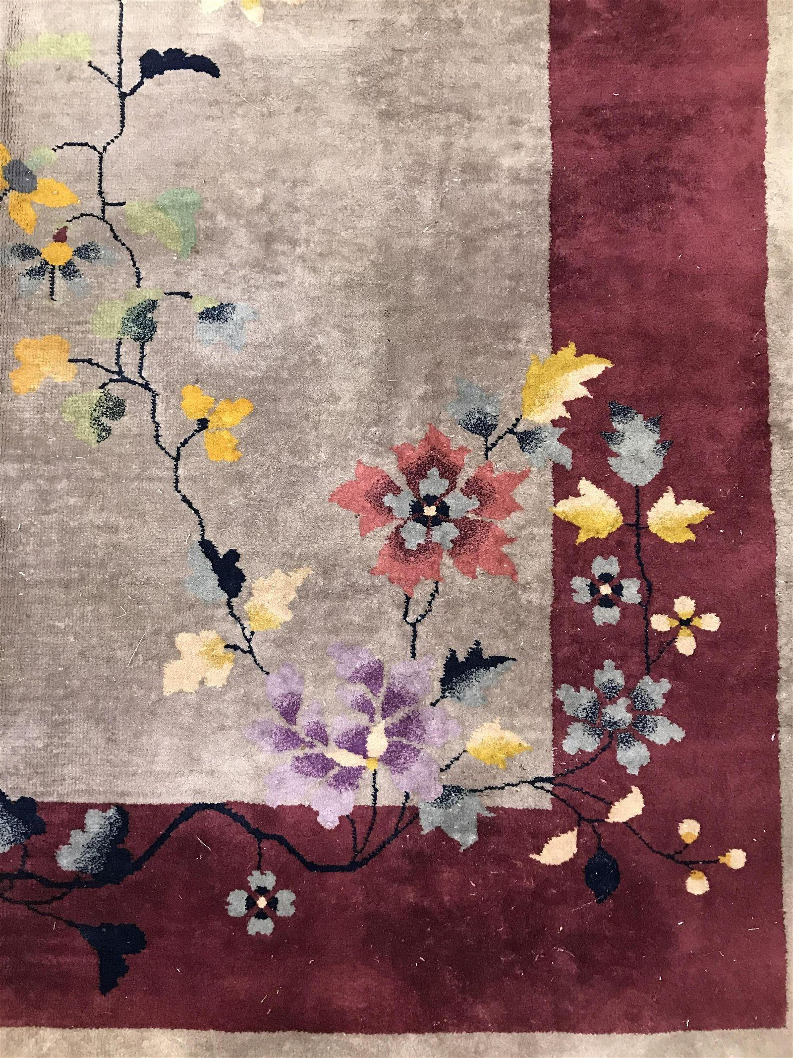 Vintage Handmade Chinese Art Deco Wool Pile Rug