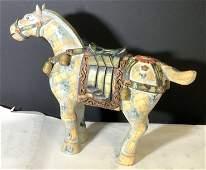 Folk Art Vintg. Carved Wood & Ceramic Horse Statue