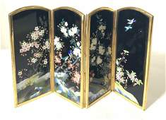 INABA Signed Cloisonné Tabletop Folding Screen
