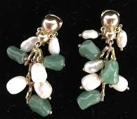 Antique Victorian 14k 18k gold jadeite jewelry set