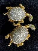 Pr Signed NETTIE ROSENSTEIN TURTLE Pins, Jewelry